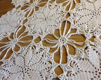 Beautiful hand made crocheted centrepiece for table. Doily, display piece. Antique cream in colour and tiny intricate stitches