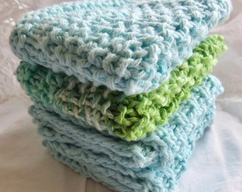 Hand-knit Cotton Dishcloths, 3 Robin's Egg Blue and 1 Multicolour (set of 4)