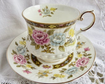 "Rosina Queens Fine Bone China Footed Teacup and Saucer ""Cathay"" Pattern"
