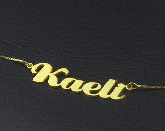 Cuatom Name Necklace, Gold Name Necklace, Mom Name Necklace, Baby Name Necklace, Cute Name pendant, Personalized Nameplate Necklace, Gift