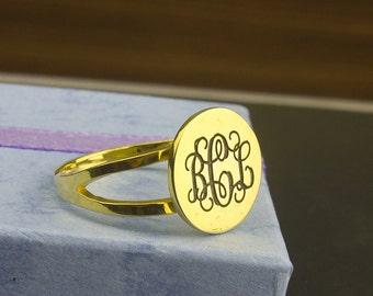Monogram Ring, Engraved Monogram Ring, Personalized Monogram Ring, Initial Monogram Ring, Gold Engraved Monogram Ring, Idea Gifts