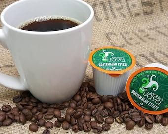 Coffee Keurig K Cups Single serve cups Dark Roast Guatemalan Estate Coffee Artisan Roasted Coffee to brew by Jackie's Java Coffee Roaster