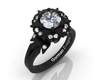 Exclusive French 14K Black Gold 1.0 Ct White Sapphire Diamond Solitaire Engagement Ring G1115-14KBGDWS