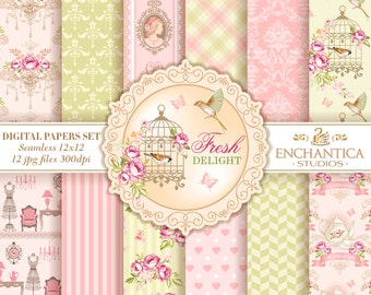 Shabby Chic Digital Paper, Digital Paper Shabby Chic, Shabby Chic Digital Pattern, Pink and Green  Digital Paper, Victorian Patterns,  Roses