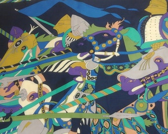 Vintage, likely silk, mid century modern, knights in armor, horses, all in fabulous colors of purple, aqua, green, gold, grey, navy and more