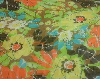 Vintage, Cejon silk scarf. Yellow, green, black, orange, and more.