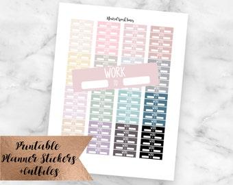 Neutral Work Times Printable Planner Stickers-Silhouette Cutfiles-Erin Condren Planner Stickers-Work Schedule Stickers