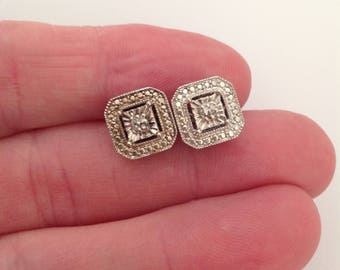 Diamond Earrings, Sterling Diamond Earrings, Square Diamond Earrings, Square Diamond Post Earrings