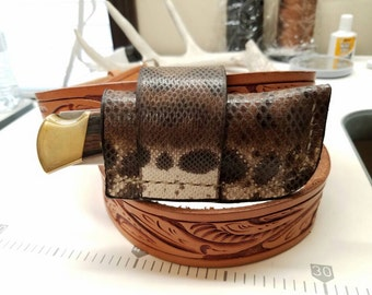 Buck 110 Folding Hunter Knife Karung Snake Skin Leather Sheath- Natural Color