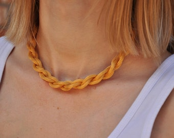 Vintage Gold Braided Rope Necklace, Nautical Twisted Chain Jewelry Gift