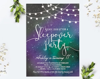Sleepover Invitation Digital Printable String Lights Galaxy Invite Pajama Party Invitation Girl Slumber Birthday Invitation Starry Sky Night