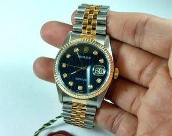 Vintage ROLEX Datejust 36 Steel & 18k Yellow Gold Diamond Dial