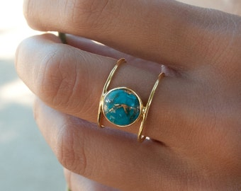 Turquoise Ring * Gold Ring * Statement Ring * Gemstone Ring * Copper Turquoise Ring * Natural * Organic Ring * Ocean * Blue Ring * BJR045