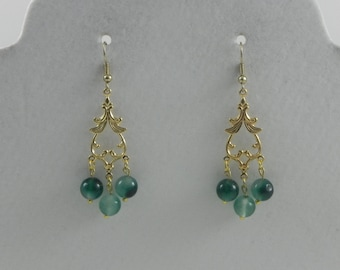 Gold and Jade chandelier earrings