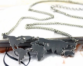Silver World Map Necklace - Map Jewelry - World Map Charms - Traveling Jewelry - Traveling Necklace