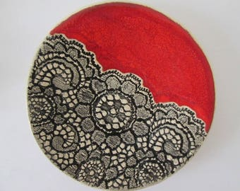 lace ceramic plate, plate for jewelry, platter for wedding rings, ceramic handmade minimalistic, red small plate, tea bag plate, ring dish