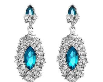 Hot Popular Woman Jewelry Rhinestone Glass Waterdrop White Gold Plated Earrings