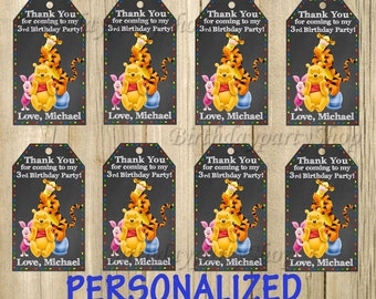 Winnie the Pooh Favor Tag, Favor Bag Toppers, Winnie Thank You Tags, Personalized