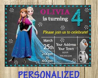 Frozen invitation, Frozen Birthday Invite, PERSONALIZED, Digital File