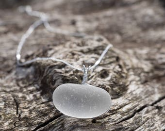Sideways White Seaglass+Stirling Silver Pendant