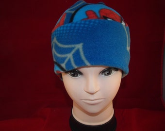 Boys winter fleece cap royal blue with spida man