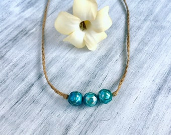 Hawaiian mermaid pearl necklace with turquoise faceted pearls