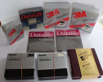 Huge Lot Vintage 1980's computer Storage Memory Floppy Discs Diskettes 3M Scotch Head Cleaner Electronics Accessories 5 3 inch Drives