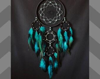 Dreamcatcher  , Dream catcher black & turquoise color , large dreamcatcher, indian talisman, Dreamcatcher blue black color