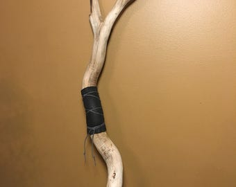 Willow Wand Corkscrew Willow Wand with Crystal Tip Leather and Hemp Cord Handle area