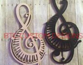 Wooden Treble Clef, Wooden Wall Art, Wooden Monogram, Wood Wall Art, Musical Art, Musical Wall Art, Music Room decor, Music Teacher gift