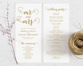 Gold Wedding Program Template, Wedding Ceremony Program, Printable Programs, Kraft Wedding Program, fan, PDF Instant Download, WPC_262