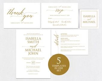 Gold Wedding Invitation Template, Wedding invitation template, Wedding Invite, Kraft wedding Invitation, pdf instant download, WPC_439
