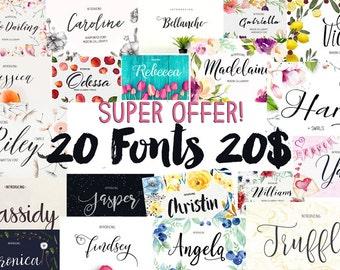 20 digital fonts Font Bundle - Calligraphy font - Font download - Handwritten font - Watercolor font - Wedding font - Font instant download