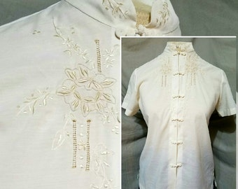 Vintage 1970s Lily Chinese Ivory Embroidered Snap-down Blouse Top Size Small - Medium