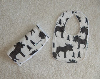 Baby Boy Burp Cloth and Bib - Moose bib -Modern drool bib- Modern baby burp cloth - Baby shower gift