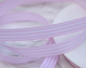 Fine Grosgrain Ribbon, Pink Stripe Ribbon, 1 Meter Ribbon, 10mm Ribbon, Craft Ribbon, Hair Bows, Sewing Supplies, Etsy Shop Supplies
