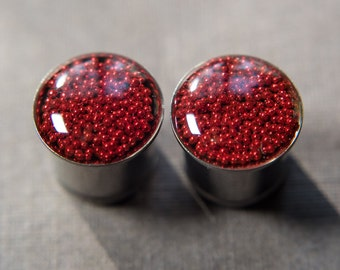 Pearl of the truth double or single flare red ear plug,  with O ring, 2g - 6mm,  0g - 8mm 00g - 10mm, 12mm, 14mm, 16mm, 18mm, 20mm
