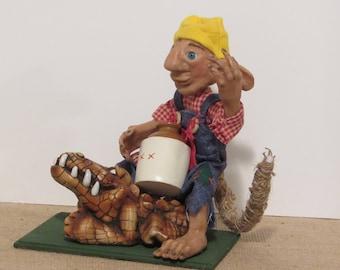 OOAK Art Doll, Troll Guy on His Gater, Handmade Art Doll by Susan Massey *Free Shipping