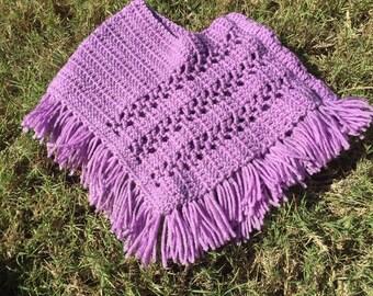 Purple crochet poncho 6 months