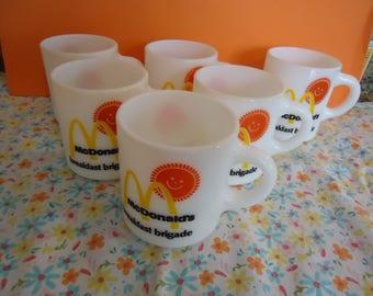 Six Vintage Milk glass McDonalds Mugs / Cups Breakfast Brigade