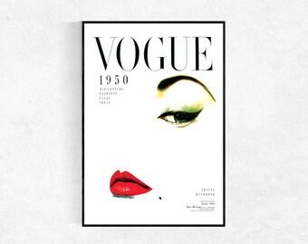 Vogue Poster, Vogue Print, Fashion Poster, Dorm Room Print, Modern Minimalist, Vintage Vogue Magazine Print, Fashion Wall Art