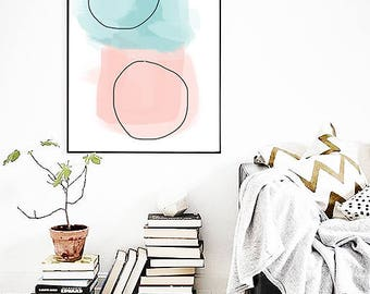 Pastel Abstract PRINT, Abstract Wall Art, Modern Art, Abstract Poster, Scandinavian Art Print, Pink Wall Art
