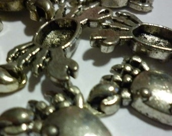 Crab Silver Tone Metal Charms - Pack of Four - H164
