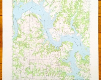 Oklahoma Lake Map Etsy - Oklahoma map us