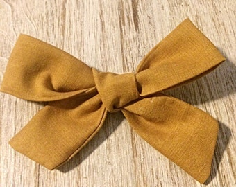 Large Tied Mustard Bow