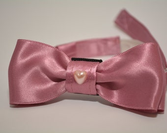 "Kitten bow tie ""Little Darling"" with collar & bell. Small pink bow tie for kitten with collar."