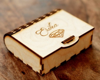 Custom wooden jewelry box, Custom gift box with diamond, Bridesmaid gift, Bridesmaid proposal, Will you be my bridesmaid