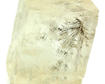 Yellow Optical Calcite with Dendrite
