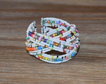 Multi Colored Beaded Bracelet | Handmade Beaded Bracelet | White Beaded Cuff Bracelet