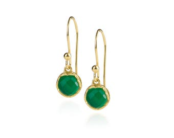 Dosha Earrings - Gold - Green Onyx